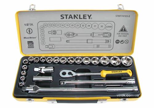 """Набір головок торцевих STANLEY 1/2"""" в металевому футлярі 24 шт"""