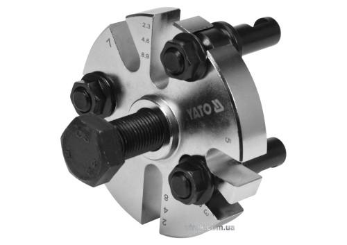 Знімач шківа в ГРС двигуна, універсал. 3-лапковий YATO: тримач веретена- М24, Ø=60-90 мм, 8 положень