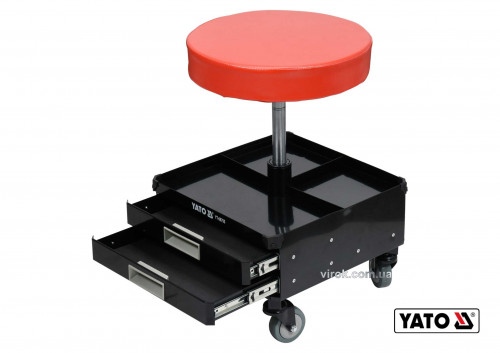 Табурет на колесах YATO з 3 шуфлядами 380 x 380 x 450-560 мм 150 кг