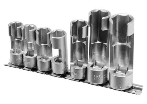 """Головки торцеві відкриті для лямбда-зондів і датчиків YATO 3/8"""" і 1/2"""" М10-19 CrV 7 шт"""