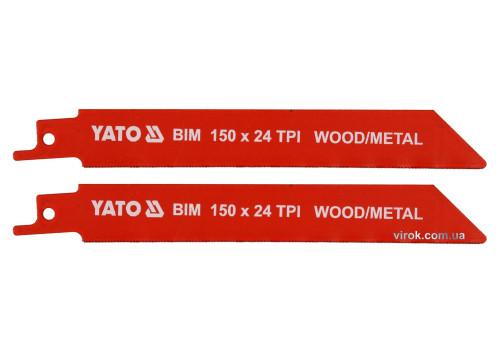 """Полотна по дереву і металу бі-металеві до шаблевої пили YATO 150 x 1 мм 24 зуба/1"""" 2 шт"""