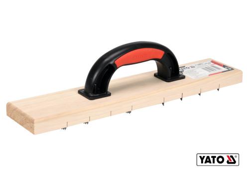 Терка для зняття штукатурки дерев'яна з дрібними зубцями YATO 405 х 84 мм пластикова ручка