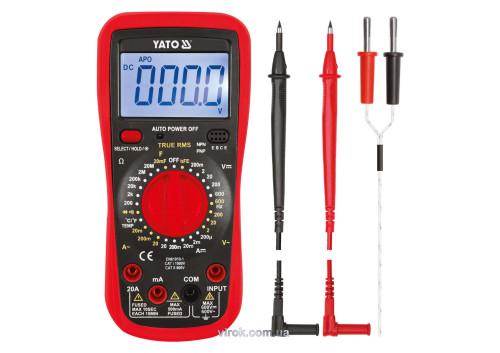 Мультиметр цифровий з LCD-дисплеєм і провідниковими контактами YATO