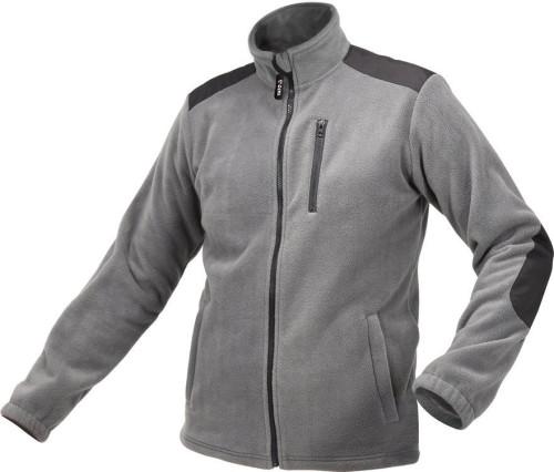 Куртка робоча з грубого фліса YATO розмір S, сіра, 3 кишені, зміцнювальні нашивки, 100% поліестер