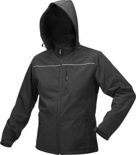 Куртка робоча SOFTSHELL з прикріп капюшоном YATO розм XXXL, чорна, 3 кишені, 96% поліест і 4% спанде