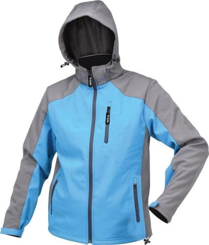Куртка робоча SOFTSHELL з прикріпн капюшоном YATO розм S, синьо-сіра, 3 кишені, 96% поліес і 4% спан