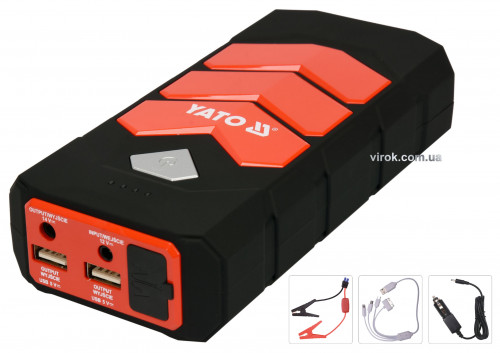 Пускова батарея Li-Pol 9 Агод YATO силою 200/400 А, вихід: 12 В, 3,5 А, через USB: 5В, 2А