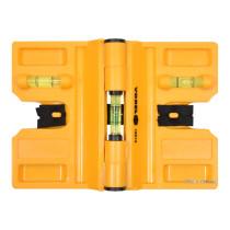 Рівень для встановлення стовбців VOREL з магнітом і 3 капсулами 190х135 мм