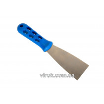 Шпатель малярний з нержавіючої сталі VIROK Профі 80 мм з пластиковою ручкою
