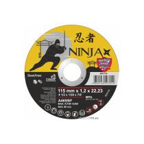 """Диск відрізний по металу та нержавіючій сталі NINJA ТМ """"VIROK"""" Ø=115х22.23 мм t=1.2 мм"""