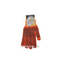 Рукавиці трикотажні оранжеві з ПВХ крапкою з подвійним налодонником, розм. 10