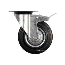 Колесо до візка Ø= 200 мм, b= 46 мм VOREL з гальмом і обертовою опорою; h= 235 мм, навантаж.- 150 кг