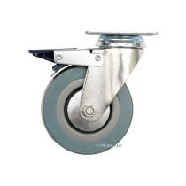 Колесо до візка Ø=100мм, b=26 мм VOREL, сіра гума з оберт. опорою і гальмом; h=134мм, навант- 45кг
