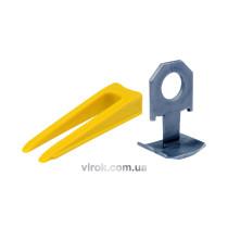 Кліпси VOREL 300 шт. і клини 100 шт. для вирівнювання викладання керам. плитки; упак. 400 шт.