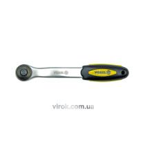 """Тріщатка 1/4"""" з вигнутою ручкою VOREL 150 мм 72 зубці"""