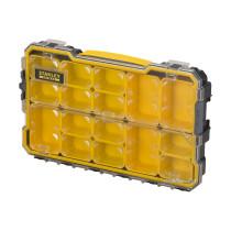 """Органайзер 2/3 мілкий з прозорою кришкою Stanley """"Fatmax Pro""""; 14 лотків, 43х 27х 6,4 см"""