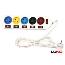 Подовжувач електричний LUND 2 м 5 гнізд з 5 вимикачами 3-жильний Ø1 мм² з заземленням