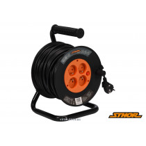 Подовжувач електричний на котушці STHOR 50 м 1.5 мм² 4 гнізда 3-жильний