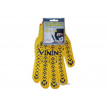 Рукавиці трикотажні жовті NINJA з ПВХ крапкою ( 70% - бавовна, 30% - поліестр) розмір 10