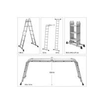 Драбина розкладна VOREL 4 секції x 3 сходини 3.4 м 94 х 35 х 27 см алюміній + сталь