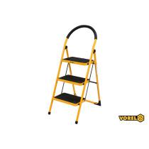 Драбина розкладна металева VOREL 3 сходинки 36 х 26 см з антиковзальною прокладкою 115 х 47х 65 см