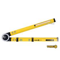 Кутомір регулювальний алюмінієвий VOREL 630 мм кут 0-270° 0-500 мм + олівець