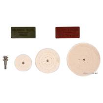 Полірувальний набір VOREL : 3 диски Ø= 50, 75, 100 мм, штифт-тримач Ø= 6 мм, 2 види мастики