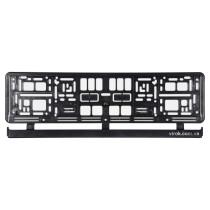 Рамка пластикова чорна під номер авто VOREL 529 х 132 х 11 мм