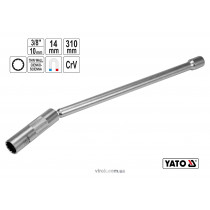 """Ключ для свічок запалу дванадцятигранний магнітний YATO 3/8"""" М14 x 310 мм Cr-V"""