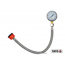 """Манометр для вимірювання тиску води YATO 3/4"""" 1/2"""" шланг- 30 см 1.1 Мпа"""