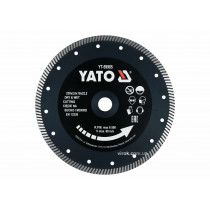 """Диск відрізний алмазний по гресу і кераміці для мокрої та сухої різки """"TURBO"""" YATO 230 x 2 x 10 x 22.2 мм"""