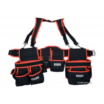 Пояс з 2 накладними торбами з кишенями для інструменту YATO, на лямках; l= 1280 мм