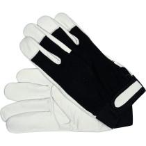 Рукавиці робочі біло-чорні YATO, бавовна + шкіра, розмір 8