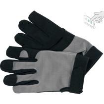 Рукавиці робочі чорно-сірі YATO, для сенсорних екранів, штучна шкіра + бавовняний трикотаж, розмір 10