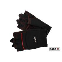 Рукавиці робочі чорні з відкритими пальцями YATO штучна шкіра + синтетична тканина розмір 9