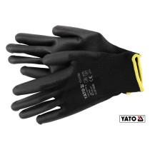Рукавиці робочі нейлонові чорні YATO розмір 9