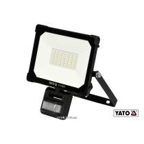 Прожектор з SMD-діодним випромінювачем і датчиком руху YATO 30 Вт 3000 лм 120° 42 діоди