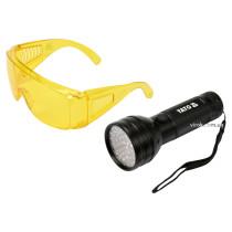Ліхтар ультрафіолетовий з окулярами для виявлення протікання рідини і перевірки банкнот YATO 51 LED 3 x AA