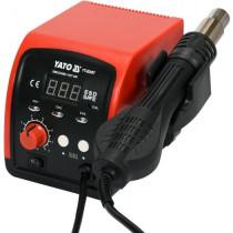 Фен-станція мережева YATO: 750 Вт, t°= 100- 500°С, пов. потік- 120 л/хв, LCD табло, 4 форсунки
