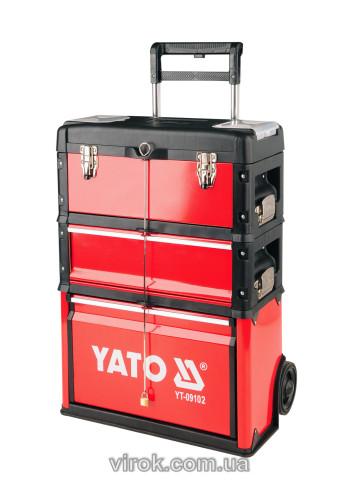 Ящик-тележка для инструментлв на колесах YATO с 3 секциями