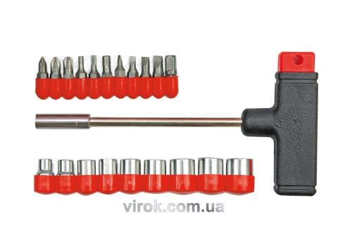Отвертка-держатель Т-образная VOREL с насадками 20 шт