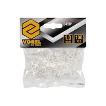 Хрестики дистанційні для плитки багаторазові VOREL тип U: товщина - 1 мм, уп. 100 шт.