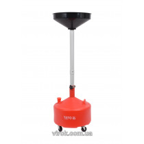 Пристрій збірний для зливу оливи на колесах YATO; V= 20 л, воронка Ø= 42 см, h= 75- 155 см