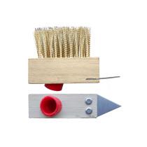 Щетка ТМ VIROK деревянная из латунной проволки для брусчатки со скребком и резьбовым креплением