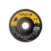 Круг лепестковый шлифовальный NINJA TM VIROK Т27 125х22 мм Р120Круг лепестковый шлифовальный NINJA TM VIROK Т27 125х22 мм Р120