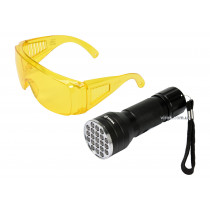 Фонарь ультрафиолетовый с очками для определения протекания жидкостей и проверки подлинности банкнот VOREL 21 LED 3 x AAA