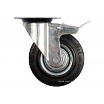 Колесо до візка Ø= 75 мм, b= 23 мм VOREL з обертовою опорою і гальмом; h= 97 мм,  навантаж.- 40 кг