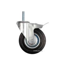 Колесо до візка з штифтом Ø=125мм, b=33мм VOREL з оберт. опорою і гальмом; h=153мм, навант.- 100 кг
