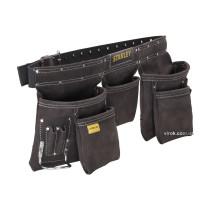Пояс кожаный с карманами для инструментов STANLEY 4 большие 6 малых 2 держателя для молотка и 1 для рулетки