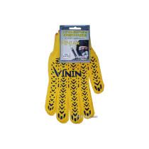 Перчатки трикотажные желтые NINJA с ПВХ точкой ( 70% - хлопок, 30% - полиэстр) размер 10